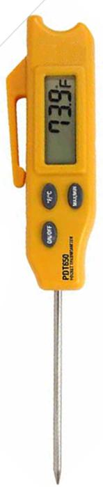 Turf-Tec Digital Pocket Thermometer with unit Open - Overall length 8 inches (21 cm) - Since the temperature sensor on this durable thermometer is located at the tip of the stainless steel probe, soil temperatures can be taken at different depths in the soil just by inserting the probe at different depth levels from one to three and a half six inches deep.  Unit also shows the maximum and minimum temperature readings with a separate button.
