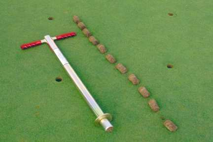 The new Duich Ball Mark Plugger is specially designed for daily removal of ball marks completely out of a golf green and eliminating golfer complaints. The hardened cutter blade removes turf plugs 1-1/2 inches in diameter by 2 1/2 inches deep.