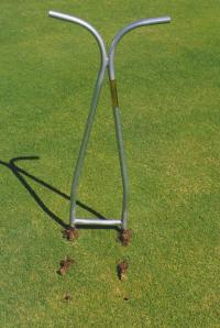 The Holey-Fier fixes many of these problems, a homeowner version of a tool used on golf courses for ages! Simply push the Holey-Fier into the soil with your foot and pull out.  The soil is removed leaving behind open holes.  Air, water and Nutrients will get into the open holes and will encourage deep roots.