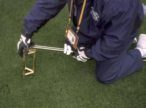 The unique design of the new Turf-Tec Toma Shear Strength Tester allows the turf stability to be tested to insure the health of the root system directly on athletic fields. The Turf-Tec Toma Shear Strength Tester can also test different cleat designs and cleat depths to insure proper footing during play. Simply screw in the cleats to be used during play and insert the tool into the soil. By simply pressing down and turning the tool until the turf fails, you can get a reading in foot pounds or Newton Meters as to the shear strength of the turf. Different cleat types and depths can be tested and compared to each other right on the playing field. This will insure the cleat choice is optimum for that field on that given day, regardless of field moisture, soil types, turf varieties or weather conditions.