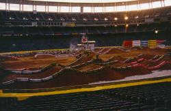 This is Qualcomm Stadium in San Diego, CA being prepared for a motocross event.  The field is underneath the mountains of clay.
