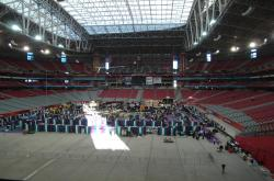 Even though the Superbowl was a little over two weeks away, the University of University of Phoenix Stadium was still able to hold a trade show due to the retractable field.