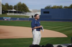 This is Jon Naber, Assistant Sports Turf Manager at the Maryvale Baseball Park speaking to our group.  The stadium is run by the City of Phoenix.