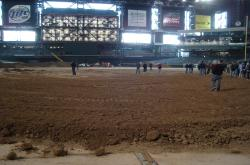 Chase Field was covered with plywood and two to three feet of mud in preparation for a monster truck event during the off season