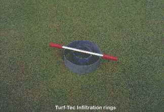 Turf-Tec Infiltration Rings.   This tool is ideal for turfgrass students. It has a 6 inch inner ring and a 12 inch outer ring. A gripped handle is attached to allow easy insertion into the soil.
