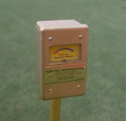Turf-Tec Moisture Sensor is useful in finding localized dry spots.  Check moisture readings at each level of the soil horizon. Adjustable from zero to four inches deep. Check moisture in thatch, mat and soil above and below the root zone.   Moisture Meter.   Moisture Meter.